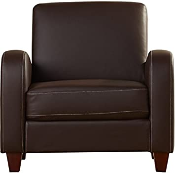 Brown Snug Comfy Armchair - Soft Touch Brown Faux Leather Upholstery - Wooden Feet - Streamlined Silhouette