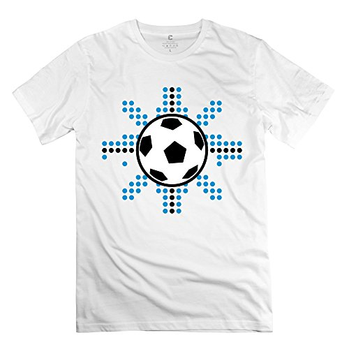 Custom Soccer Ball T Shirts For Men 100%Cotton Short Sleeve White