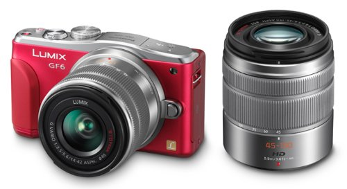 Panasonic ルミックス デジタル一眼カメラ/ダブルズームレンズキット(14-42mm/F3.5-5.6 II 標準ズームレンズ、45-150mm/F4.0-5.6望遠ズーム レンズ付属) レッド Wi-Fi®+NFC搭載 DMC-GF6W-R