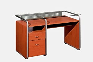 Clear Glass Computer Desk with Storage