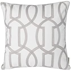 "Mika Home Cotton Embroidery Geometric Links Accent Decorative Throw Pillow Cover Sofa Cushion Case for 18X18"" inserts Grey White"