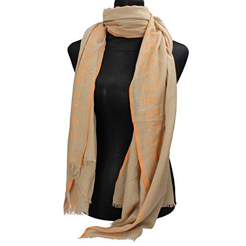 NALì sciarpa pashmina donna beige cotone arancione AF444