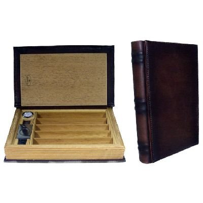 Book Cigar Travel Humidor and Accessories - 5 Positions