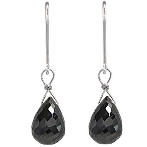 Black Spinel Briolette Dangle Sterling Silver Handmade Earrings