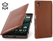 buy Stilgut Book Type With Clip, Genuine Leather Case, Cover For Sony Xperia Z5, Cognac Brown