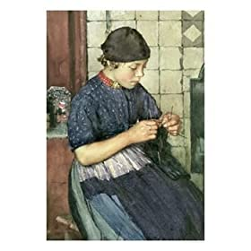 Girl Knitting Giclee Poster Print by Walter Langley