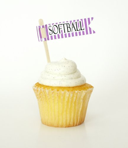 """Softball"" Cupcake Toppers, Purple (Set Of 12) - High School Sporting Events Or Community Teams Baseball"