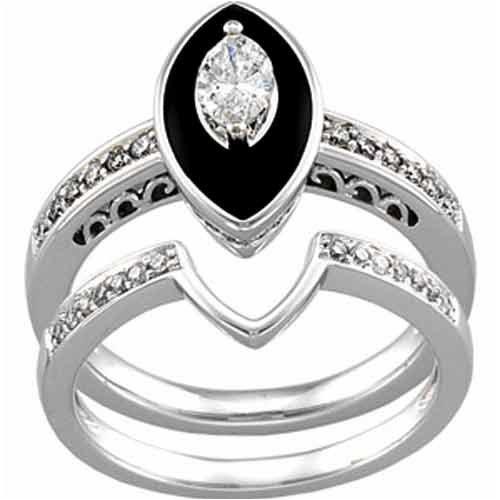 Amazon 14K White Gold Antique Inspired Marquise Black yx Diamond Weddi