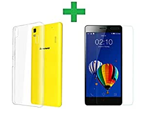 COMBO OFFER Azzil Soft Silicon Back cover with Tempered Glass 2.5D 9H Hardness Screen Protector For Lenovo K3 Note (Transparent)
