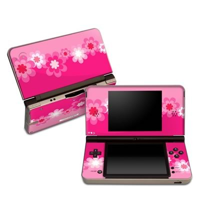 Retro Pink Flowers Partners Protector Skin Decal Sticker for Nintendo DSi XL Game Device