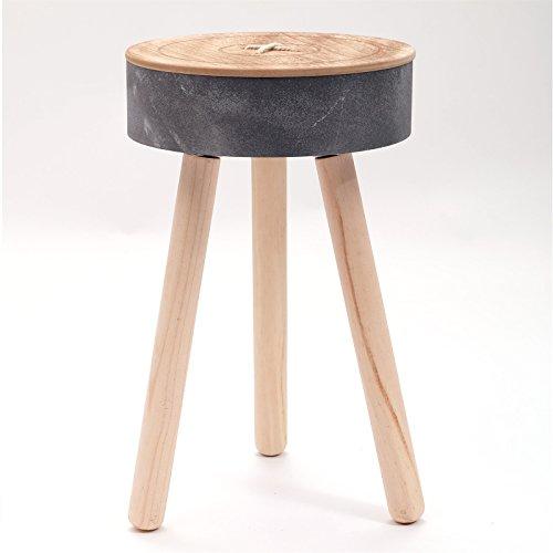 AUSGEFALLENER-BEISTELLTISCH-KNOPF--33-cm-dreibein-runder-Holztisch-Nachttisch