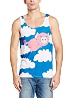 Mr. Gugu & Miss Go Camiseta Tirantes Unisex Flying Pig (Azul / Blanco / Rosa)