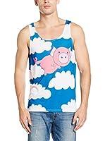 Mr. Gugu & Miss Go Camiseta Tirantes Unisex Flying Pig (Azul / Blanco / Rosa)