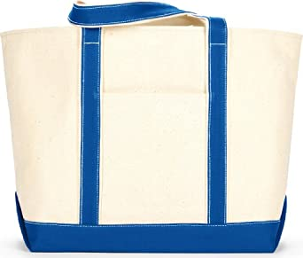 Liberty Bags Extra-Large Canvas Boat Tote Bag. 8872 - One Size - Natural / Royal