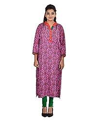 Damyantii Women'Plus Size Cotton Banded Collar Straight Pink Casual Kurta