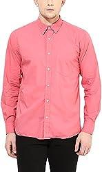 Y.U.V.I. Men's Cotton Regular Fit Casual Shirt (11113029-S, Pink, Small)