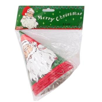 MERRY CHRISTMAS Party Hats SANTA CLAUS (8 Count)