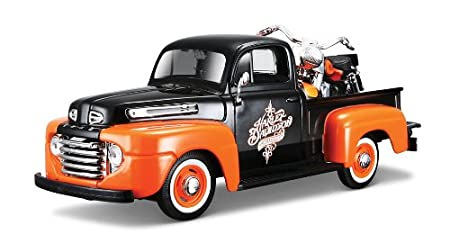 Maisto - 2043052 - Maquette De Voiture - Ford F-1 Pickup '48 + Flh Duo Glide '58 - Noir/orange - Echelle 1/24