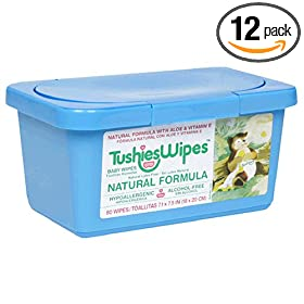 TushiesWipes, Scented Natural Formula, Case Pack, Twelve - 80 Wipe Tubs (960 Wipes)