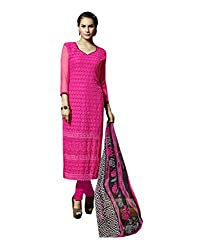 Amyra Women's Chiffon Dress Material (AC796-05, Pink)
