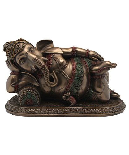 Reclining Ganesh Statue, Cold Cast Bronze