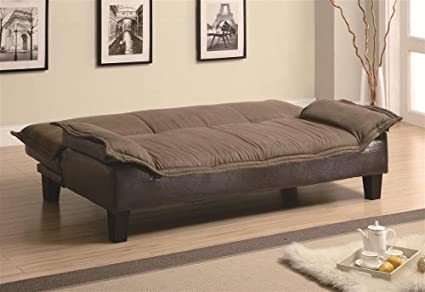 Futon Sofa Bed with Tapered Wood Legs in Two Tone Finish