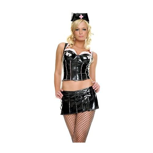 Sexy Halloween Costumes: Hot Girls in Black Vinyl Nurse - Sexy Adult Nurse Costume Lingerie Outfit