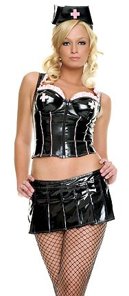 Leg Avenue Women's Black Vinyl Nurse Costume Sexy Nurse Costumes For Women