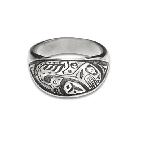 Sterling Silver Orca Northwest Coast Native American Ring. Made in USA.