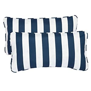 Mozaic Sabrina Corded Indoor/Outdoor Lumbar Pillows, 12 by 24-Inch, Striped Navy, Set of 2 by Mozaic Dropship
