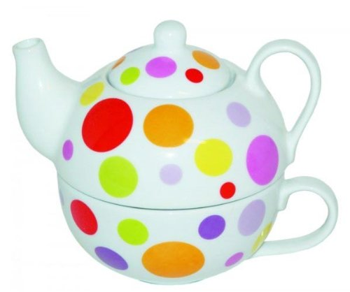 Teekanne mit Tasse - TEA FOR ONE Set - Bunte Punkte