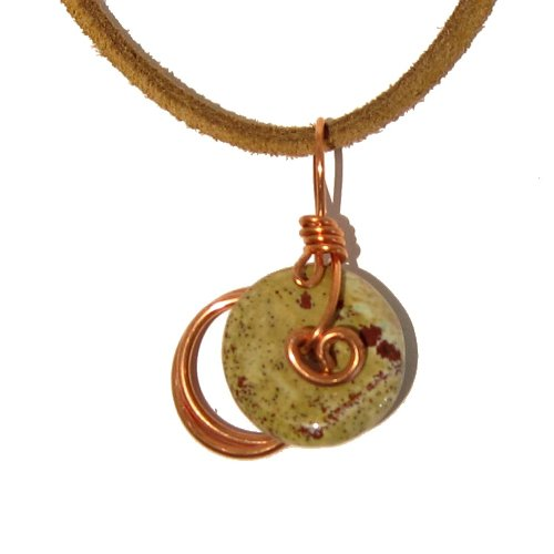 Jasper Necklace 08 Pendant Yellow Red Copper Wire Brown Leather Crystal Healing Rock Stone Natural 18