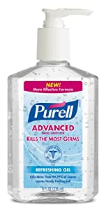 Purell Pump Bottle, Original, 8 Ounce (Pack of 12)