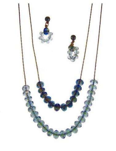 C.A.K.E. By Ali Khan Jewelry Set, Montana Blue Glass Crystal Bead Necklace And Earrings Set