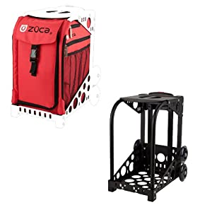 Zuca Sport Mobile Wheeled Luggage Complete Set - Chili Red With Black Frame
