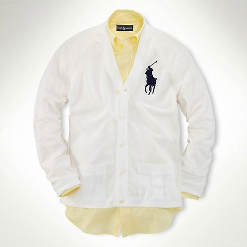 ポロラルフローレン POLO RALPH LAUREN 正規品 メンズ カーディガン Mesh Big Pony Cardigan ホワイト L