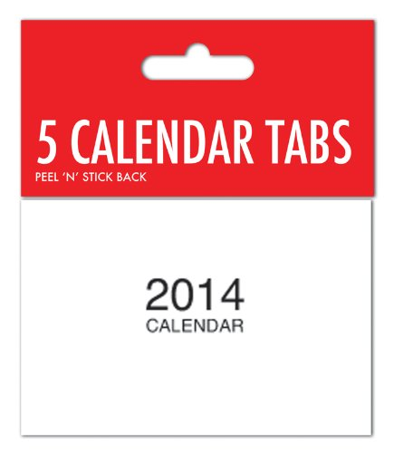 2014 Calendar Tabs with Peel 'N' Stick Back Pads - for Childrens Crafts Pack of 5
