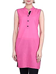 Femeie Women's Regular Fit Pink Color Kurta