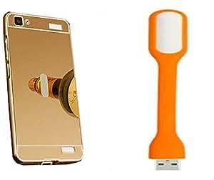 Novo Style Back Cover Case with Bumper Frame Case for Vivo V1 Max Golden + Mini USB LED Light Adjust Angle / bendable Portable Flexible USB Light