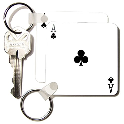 Kc_76549_1 Inspirationzstore Playing Cards - Ace Of Clubs Playing Card - Black Club Suit - Gifts For Cards Game Players Of Poker Bridge Games - Key Chains - Set Of 2 Key Chains