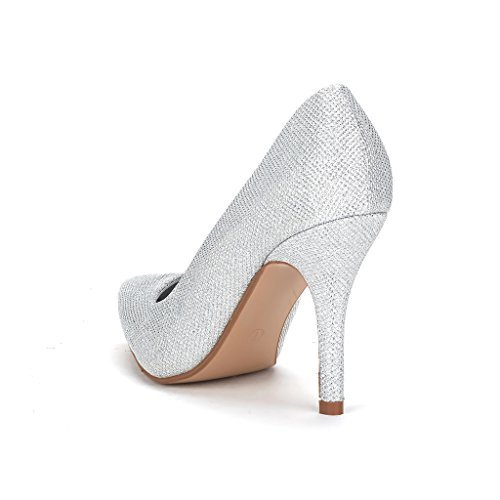 DREAM PAIRS TAYLER Women's Elegant High Heels Pointy Close Toe Stiletto Pumps Shoes Silver Size 6.5