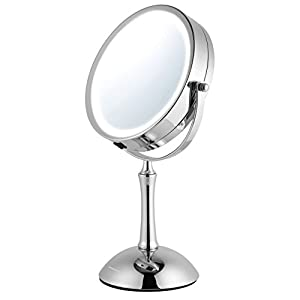 Ovente MDT70CH 7.0 inch Battery Operated LED Lighted Tabletop Vanity Makeup Mirror, 1x/8x Magnification, Polished Chrome
