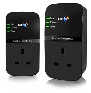 BT Broadband Extender Flex 500 Kit, Passthrough Powerline Adapters - Twin pack