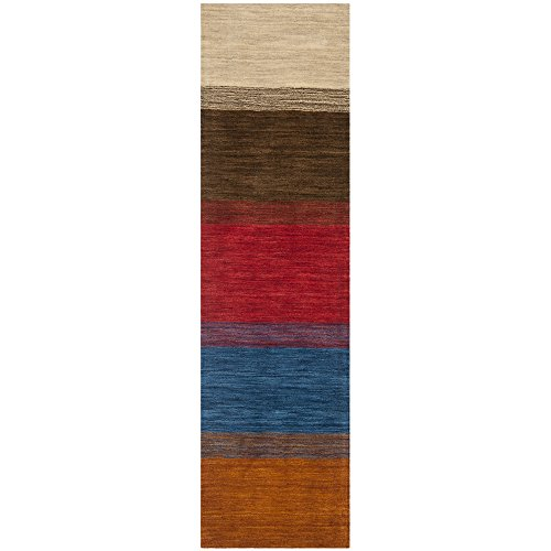 Safavieh Himalaya Collection HIM581A Handmade Orange and Multi Wool Runner, 2 feet 3 inches by 10 feet (2'3