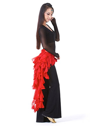 Dreamspell Red nine-tailed Fox Chiffon Leaf Skirt Belly dance waist Hip Scarf belt