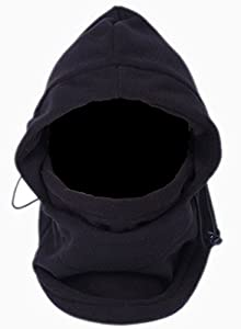 EOZY Multipurpose Use 6 in 1 Thermal Warm Fleece Balaclava Hood Police Swat Ski Bike Wind Stopper Full Face Mask Hats Neck Warmer Outdoor Winter Sports Snowboard Proof (Black)