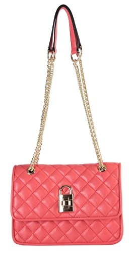 Diophy PU Leather Cocktail Party Satchel Gold Chain Crossbody Quilted Womens Handbag Purse Clutch CH-3098 Coral (Ch Clutch compare prices)