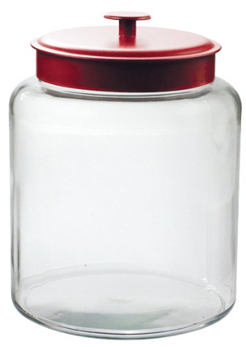 Large Glass Storage Jar with Red Metal Lid