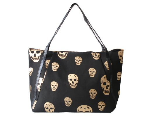 Beau Corner Fashion Punk Style Golden Skull Print Tote Handbag Shoulder Bag Black