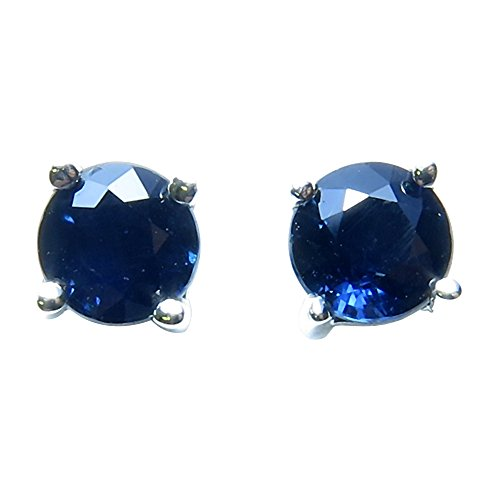 14k-Gold-Round-4-Prong-Genuine-Sapphire-Stud-Earrings